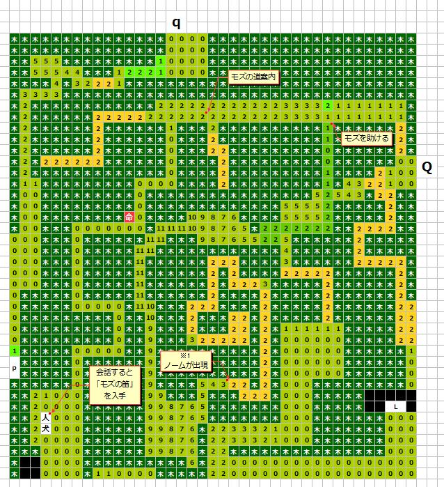 グリンメイズの森(南西)MAP